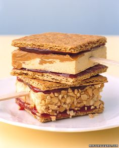 PB and J Pops  Homemade peanut butter-swirl ice cream is the star of this take on a perennial favorite. Graham crackers are covered with a layer of strawberry jam before the ice cream is sandwiched between them. Chopped peanuts can be pressed into the sides for those who like a bit of crunch