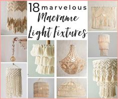 5 DIY macrame lighting projects 14 gorgeous macrame pendant lights you can buy! A shopping guide for the latest lighting craze. Macrame is popular for a good reason! These are ammmazzzing boho pendants! Diy Light Fixtures, Farmhouse Light Fixtures, Farmhouse Lighting, Ceiling Fixtures, Boho Lighting, Pendant Lighting, Diy Pendant Light, Lighting Ideas, Ceiling Light Shades