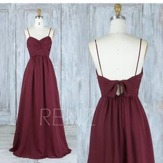 Long Bridesmaid Dress Wine Chiffon Wedding DressRuched V Neck