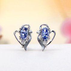 Sterling Silver White Topaz, Tanzanite Heart Stud Earrings