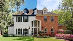 This Houston home's design checked all the boxes of bad design clichés of the These before and after photos reveal how the owners took it from tacky to on-trend. Colonial House Exteriors, Painted Brick Exteriors, Colonial Exterior, Painted Brick Homes, Home Exteriors, Home Exterior Makeover, Exterior Remodel, White Brick Houses, Painted White Brick House