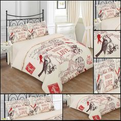RAYYAN LINEN'S 3PCs POLY-COTTON KING SIZE LOVE BIRDS CREAM DUVET QUILT COVER BEDDING BED SET WITH PILLOWCASES (CREAM CHOCOLATE RED): Amazon.co.uk: Kitchen & Home