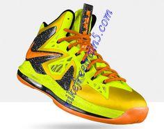 Nike Lebron 10 PS Elite Electric Yellow ViVid Orange Orange Basketball  Shoes 046109cefbdc