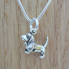 Basset Hound Sterling Silver Charm, Basset Hound Charm, Dog Charm, Small Dog Charm