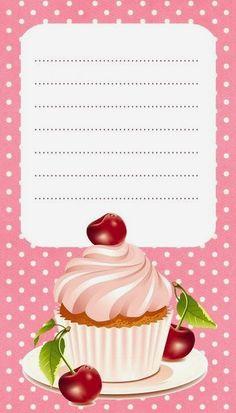 Diy Wanddekorationen, Scrapbook Recipe Book, Etiquette Vintage, Diy And Crafts, Paper Crafts, Cupcake Images, Borders For Paper, Printable Tags, Printables