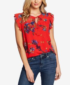 Beautiful CeCe Watercolor Iris Flutter Sleeve Blouse Best Seller Womens fashion clothing from top store Blouse Online, Trendy Plus Size, Flutter Sleeve, Blouse Designs, Floral Tops, Nordstrom, Fashion Outfits, Ootd Fashion, Womens Fashion