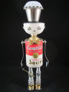 Mr. Campbell Bot found object robot sculpture by ckudja on Etsy