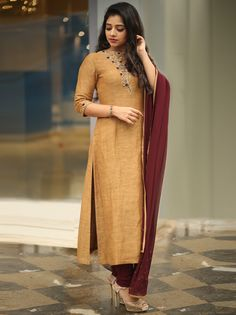 We have Spotted Epic Kurtha Designs Here - Designer Dresses Couture Sleeves Designs For Dresses, Dress Neck Designs, Kurti Neck Designs, Kurta Designs Women, Kurti Designs Party Wear, Kurti Embroidery Design, Embroidery Suits, Anarkali, Lehenga