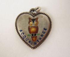 "Vintage Sterling Silver Puffy Heart Charm Enameled OWL ""Acquaintance"""