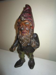 ANTIQUE CAST IRON GARDEN GNOME DOOR STOP