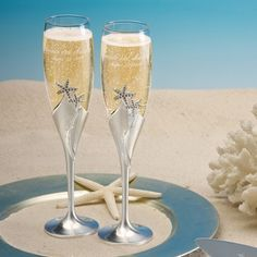 Make your first toast as husband and wife truly one to remember with our Personalized Starfish Love Toasting Flute Set. Perfect for beach themed weddings, these flutes each feature a brushed silver ba Wedding Toasting Glasses, Wedding Champagne Flutes, Toasting Flutes, Champagne Glasses, Wedding Reception, Wedding Ideas, Wedding Beach, Beach Weddings, Dream Wedding
