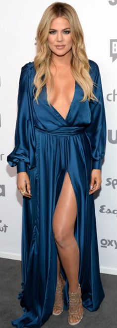 Khloe Kardashian Blue Silk Dress