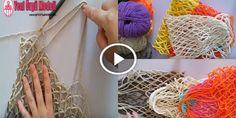 File Çanta (Alışveriş Filesi) Yapılışı/Kolay anlatım Lace Knitting, Knitting Patterns, Crochet Patterns, Knitting Stitches, Net Making, Woolen Craft, Crochet Market Bag, Net Bag, Produce Bags