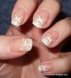 lace tip nail designs