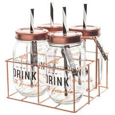 4 bocaux avec paille + support métal DRINK