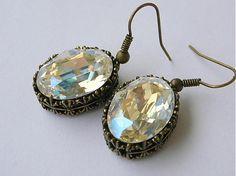 sean / Swarovski Moonlight Moonlight, Pocket Watch, Swarovski, Drop Earrings, Handmade, Accessories, Jewelry, Hand Made, Jewlery