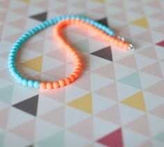 Neon orange and baby blue Matte glass bead Necklace