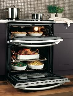 No more excuses on Turkey Day!  GE electric slide in double oven | GE Profile Slide-in Double Oven Open