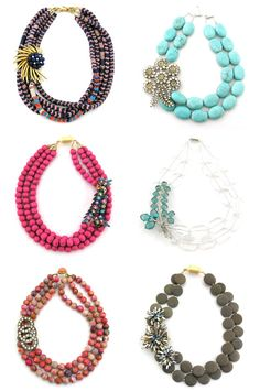 bold necklaces from elva fields for the bridesmaids