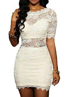 4997e269cb5 Women s Glamorous Lace Dress Nude Illusion Bodycon Party Midi Dress