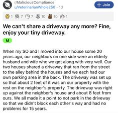 When it comes to potential neighborly driveway disputes, always remember that you can pick your battles. #driveway #lol #story #neighbor Pick Your Battles, Clap Back, Entertainment Sites, Like Mike, New Neighbors, Always Remember, Funny Stories, One Sided, Very Well