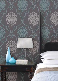 Suzette Damask Wallpaper in Aqua design by Brewster Home Fashions | BURKE DECOR