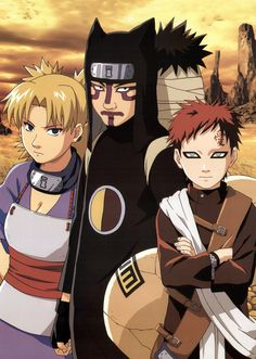 The Sand Siblings is the collective name for the children of Sunagakure's Fourth Kazekage: Temari, Kankurō and Gaara. Having underwent the gruelling training of their village, these three are regarded as elite shinobi of their village that excel in long-range combat.