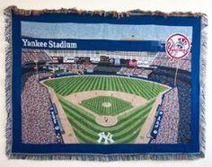 new york yankees baby blanket | Amazon.com: YANKEE STADIUM New York YANKEES THROW BLANKET Rug Afghan # ...