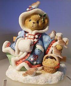 "Amazon.com: Cherished Teddies ""Irmgard"" Winter Bear Christmas Figurine #706728: Home & Kitchen"