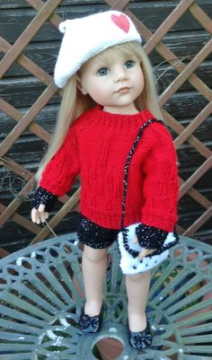 HAND KNIT PARIS INSPIRED OUTFIT TO FIT  AMERICAN GIRL OR GOTZ  18inch DOLL