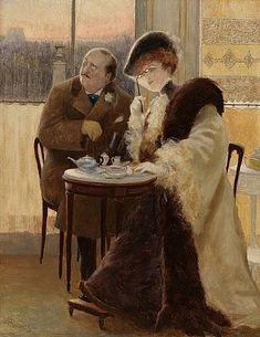 ALBERT GUILLAUME - Альбер Гильом (1876 - 1942)  Чаепитие.