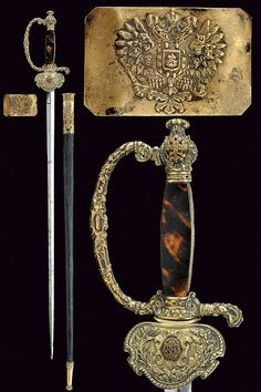 A small-sword with belt buckle, dating: late 19th Century provenance: Russia