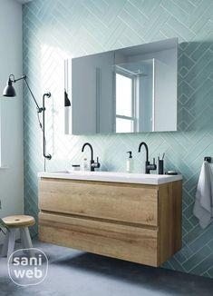 Het Ben Vario badkamermeubel in denver eiken is een stijlvolle toevoeging aan je badkamer. Met de eikenhouten kleur van het meubel creëer je een warme uitstraling sfeer. Combineer het badmeubel met twee mooie zwarte wastafelkranen voor een trendy geheel. #badkamermeubel #bensanitair #benvario #eikenbadmeubel #zwartekraan House Bathroom, Bathroom Inspiration, Bathroom Interior, Green Tile Bathroom, Bathrooms Remodel, Bathroom Decor, Bathroom Design, Modern Bathroom Decor, Tiny House Bathroom