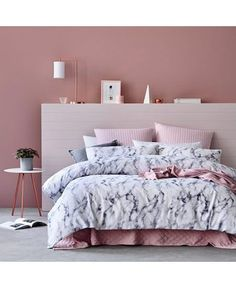 Sophisticate Pink Bedroom | Marbled Duvet Cover | Pink Walls | White and Pink Bedding