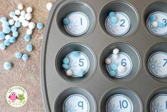 Snowflake Number Circles. Winter math for kids. Use the free math printables in muffin tins or containers. Makes a great math center for toddlers, preschool, or kindergarten. Extend with addition and subtraction.