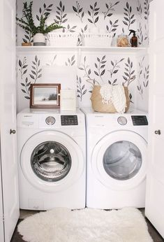 Love this small closet laundry room! Who says a small laundry room can't make a statement? The black & white wall decals tie the space together. Small Laundry Room - Home Decor - Farmhouse Laundry Room - Wall Paper Laundry Room Tiny Laundry Rooms, Laundry Room Design, Laundry In Bathroom, Laundry Nook, Laundry Decor, Small Laundry Closet, Laundry Room And Pantry, Small Laundry Space, Laundry Cupboard