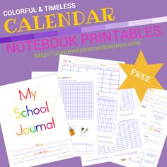 Colorful Calendar Notebook Printables