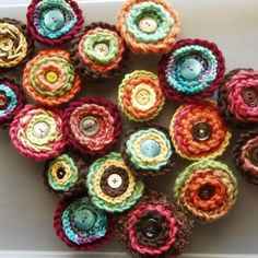 very cute crochet button pins