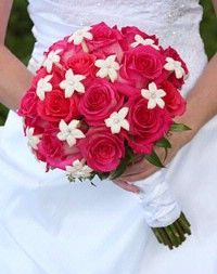 red roses and white hibiscus wedding bouquets - Google Search