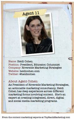 Bio for Secret Agent #11 @heidicohen  to see her content marketing secret visit tprk.us/cmsecrets