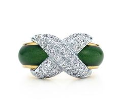 Tiffany & Co. | Item | Schlumberger Pavé X ring in 18k gold with green enamel and diamonds. | United States