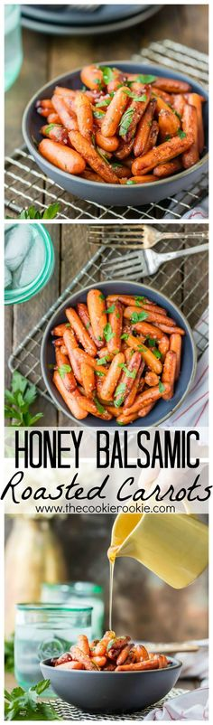Honey Balsamic Roasted Carrots. You'll look like a chef but you'll secretly know this is the EASIEST side dish EVER! Perfect healthy side for Thanksgiving!