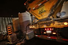 City crews fill tanks on salt trucks with Fusion Liquid De-icer, an organic solution containing beet juice. The beet juice coats the roads... #Toronto