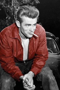 This is a picture of James Dean. James Dean was an American actor. He popularized the bad boy jeans and T-shirt look. Hollywood Icons, Classic Hollywood, Old Hollywood, Hollywood Glamour, Hollywood Stars, James Dean Poster, James Dean Style, James 3, Actor James