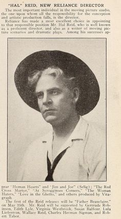 New Reliance announcement of Hal Reid as director from Moving Picture Stories 1912 father of Wallace Reid