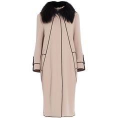 ELIE SAAB Removable Fur Collar Coat (€3.610) ❤ liked on Polyvore featuring outerwear, coats, jackets, coats & jackets, abrigos, long pink coat, pink slip, pink fur collar coat, long coat and long slip