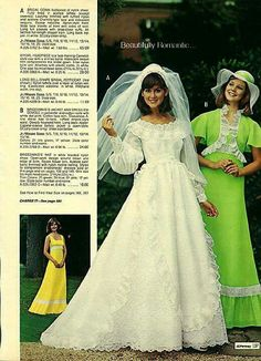 1976 J.Pennys wedding and bridesmaid dresses I think my cousin had one of these. Blue carnations too! 1970s Wedding, Vintage Wedding Photos, Vintage Bridal, Vintage Weddings, Vintage Outfits, Vintage Dresses, Vintage Fashion, Wedding Attire, Wedding Gowns