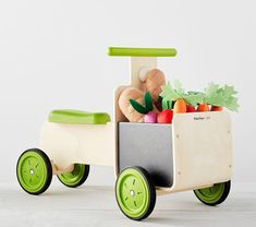 Pottery Barn Kids Farmer's Market Delivery Bike Ride-on Pretend Food, Pretend Play, Organic Fruits And Vegetables, Wooden Train, Ride On Toys, Toddler Gifts, Pottery Barn Kids, Farmers Market, Wooden Toys