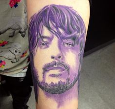 Fully healed Dave Grohl portrait . I love this tattoo of my idol the amazing awesome guy that is Mr Grohl of the Foo Fighters .  Done at Celtic Art Tattoo Studio in chesterfield , derbyshire uk by Mark Newton