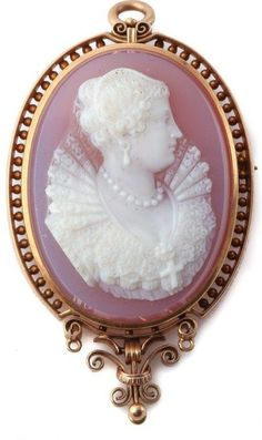 Victorian Carved Rose Pink Agate Cameo